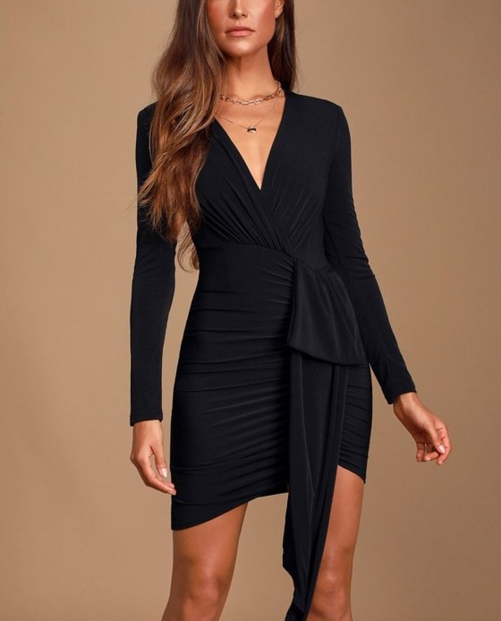 Marlay Black Ruched Long Sleeve Bodycon Dress