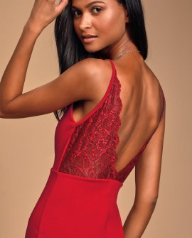 Martell Red Lace Bodycon Mini Dress