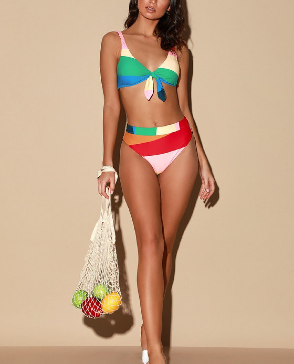 Mas Fiestas Multi Striped Bikini Bottom