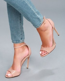Maxine Nude Patent Ankle Strap Heels