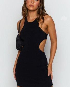 Mazzy Backless Knit Dress Black