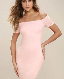 Me Oh My Blush Pink Off-the-Shoulder Bodycon Dress