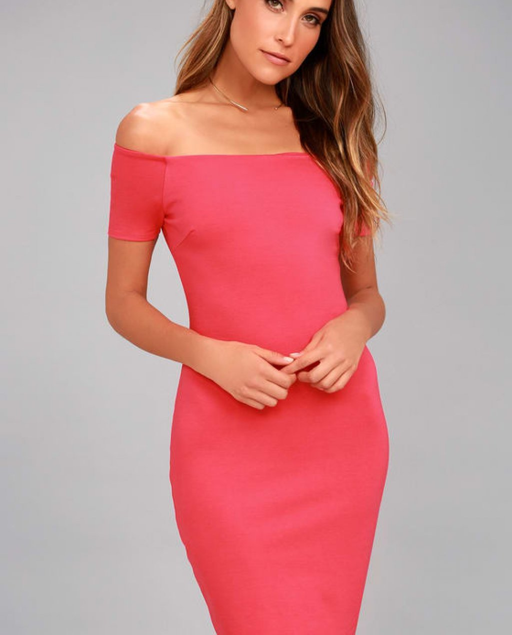 Me Oh My Fuchsia Off-the-Shoulder Bodycon Dress