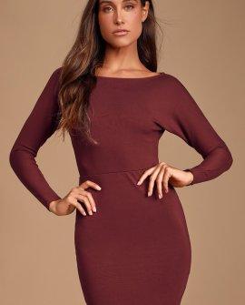 Me Plus You Burgundy Long Sleeve Bodycon Dress