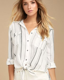 Meadow Swing Black and White Striped Button-Up Top
