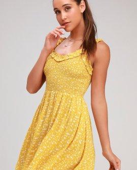 Mellie Golden Yellow Floral Print Smocked Mini Dress