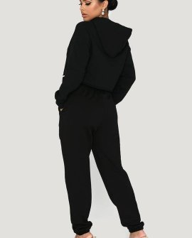 Eden Cropped Black Loopback Hoodie