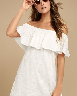 Mi Bonita Ivory Off-the-Shoulder Shift Dress