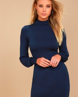 Midnight in Paris Navy Blue Long Sleeve Dress