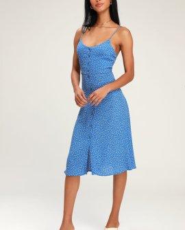 Midsummer Mini Blue Tulip Print Midi Dress