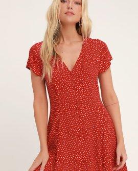 Milla Red Floral Print Button-Up Mini Dress