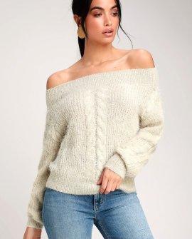 Miraflores Beige Eyelash Knit Off-the-Shoulder Sweater