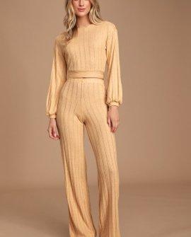 Mirha Heathered Yellow Ribbed Wide-Leg Pants