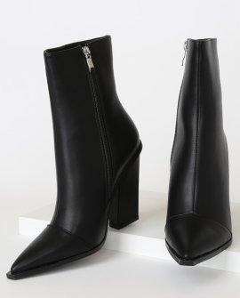 Mirren-1 Black Pointed-Toe Mid-Calf High Heel Boots