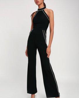 Mod Babe Black and White Sleeveless Jumpsuit