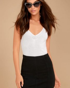 Modern Femme Washed Black Denim Mini Skirt