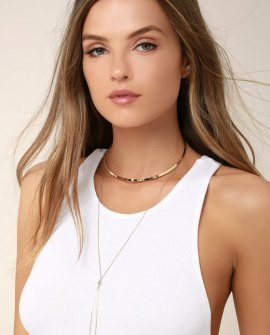 Modern Minimalist Gold Layered Collar Necklace