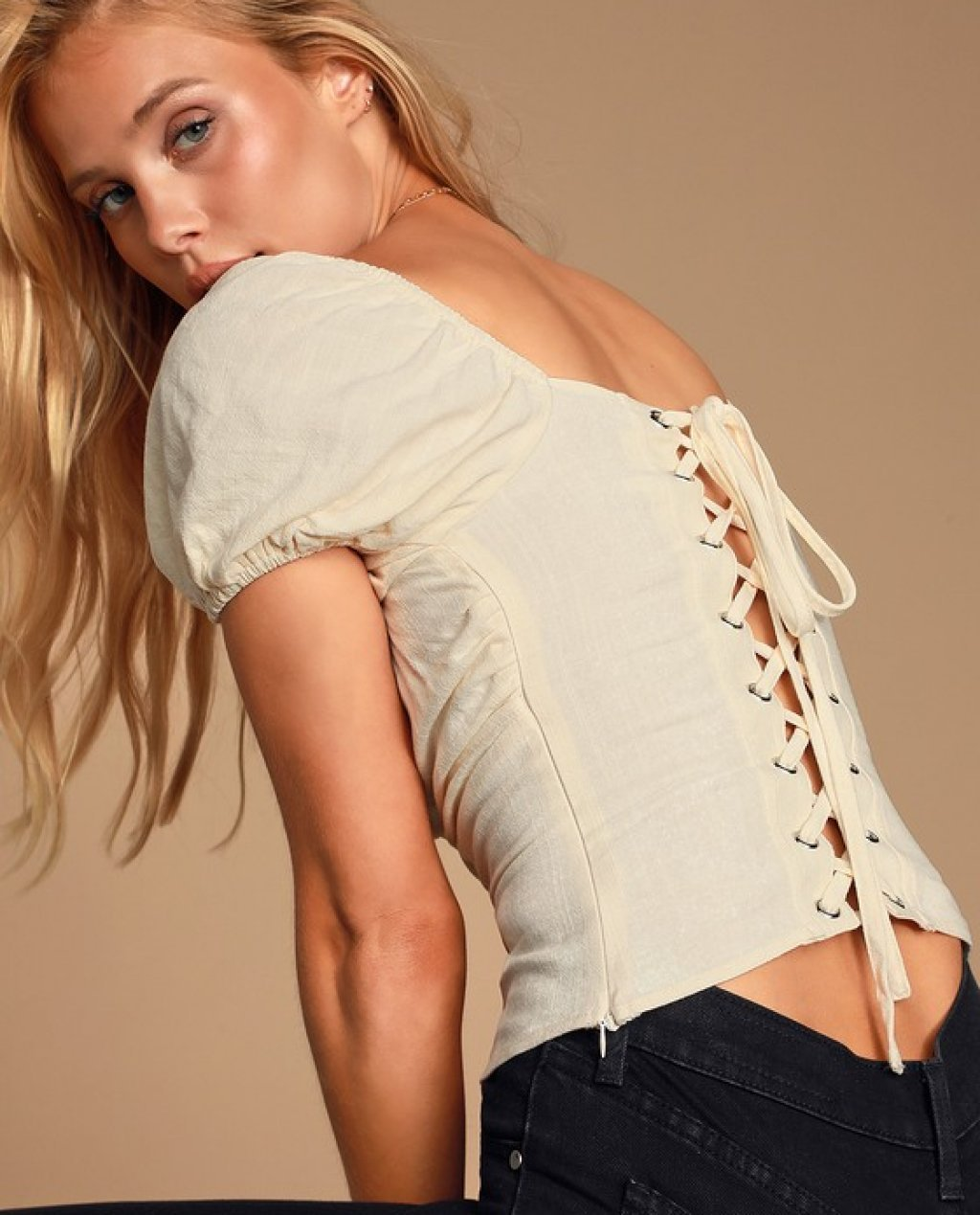 Molie Cream Lace-Up Puff Sleeve Top