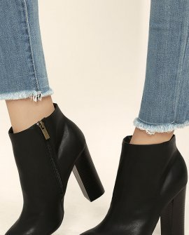 Molly Black High Heel Ankle Booties