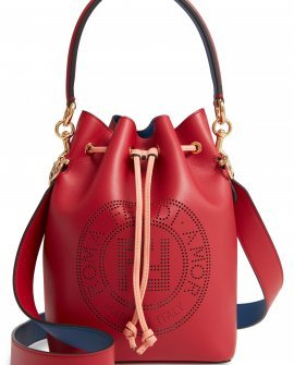 Mon Tresor Perforated Logo Leather Bucket Bag