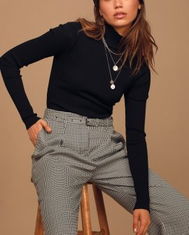 Monday Monday Brown Multi Houndstooth Belted Trouser Pants