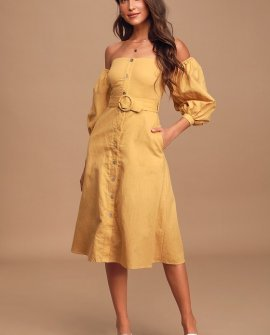 Monroe Light Yellow Off-the-Shoulder Button-Up Midi Dress