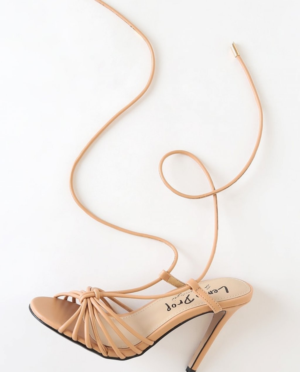 Montecilio Nude Strappy Lace-Up Heels