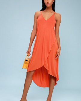 Mood and Melody Coral Orange High-Low Dress