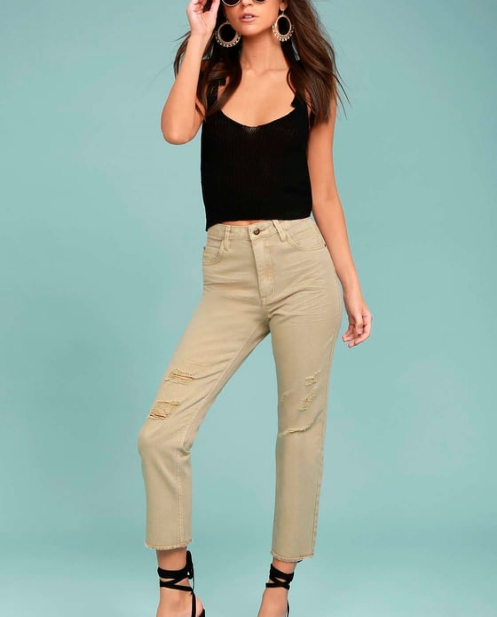 Moon River Epoch Taupe Distressed Skinny Jeans