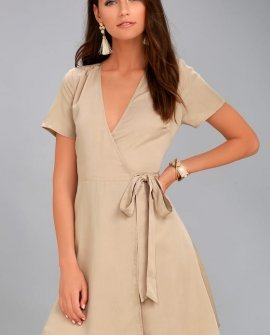 Moon River Gwendalen Beige Wrap Dress