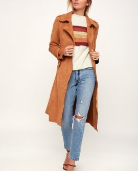 Morning Chill Light Brown Suede Trench Coat