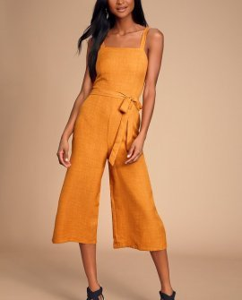 Morning Marigold Mustard Yellow Culotte Jumpsuit