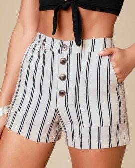 Morrison Cream Striped Shorts