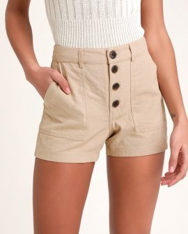 Morrison Taupe Button-Up Shorts