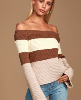 Morro Brown Multi Striped Ribbed Off-the-Shoulder Sweater
