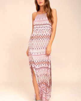 Mosaic Days Blush Pink Print Maxi Dress