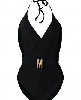 Moschino logo-plaque halterneck swimsuit