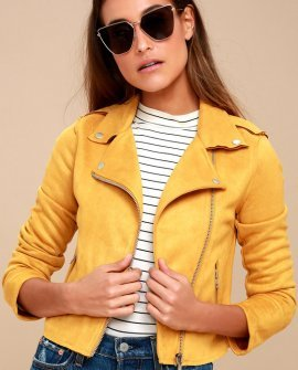 Must Love Mustard Yellow Suede Moto Jacket