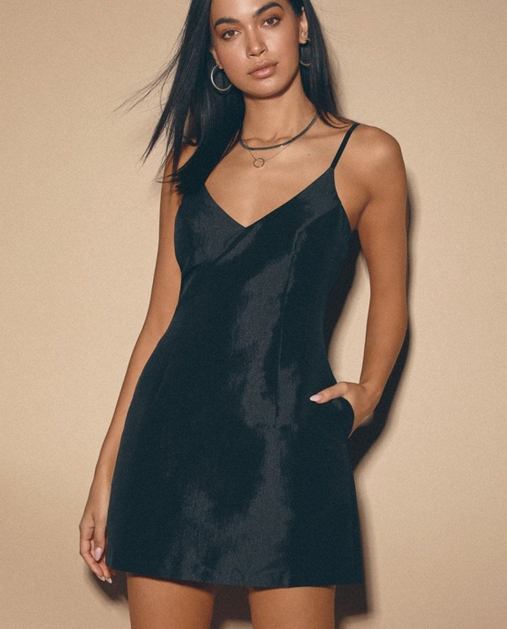 My Desire Black V-Neck Mini Dress