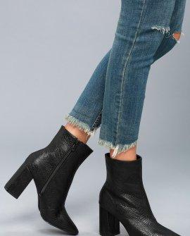 My Generation Black Snake High Heel Mid-Calf Boots