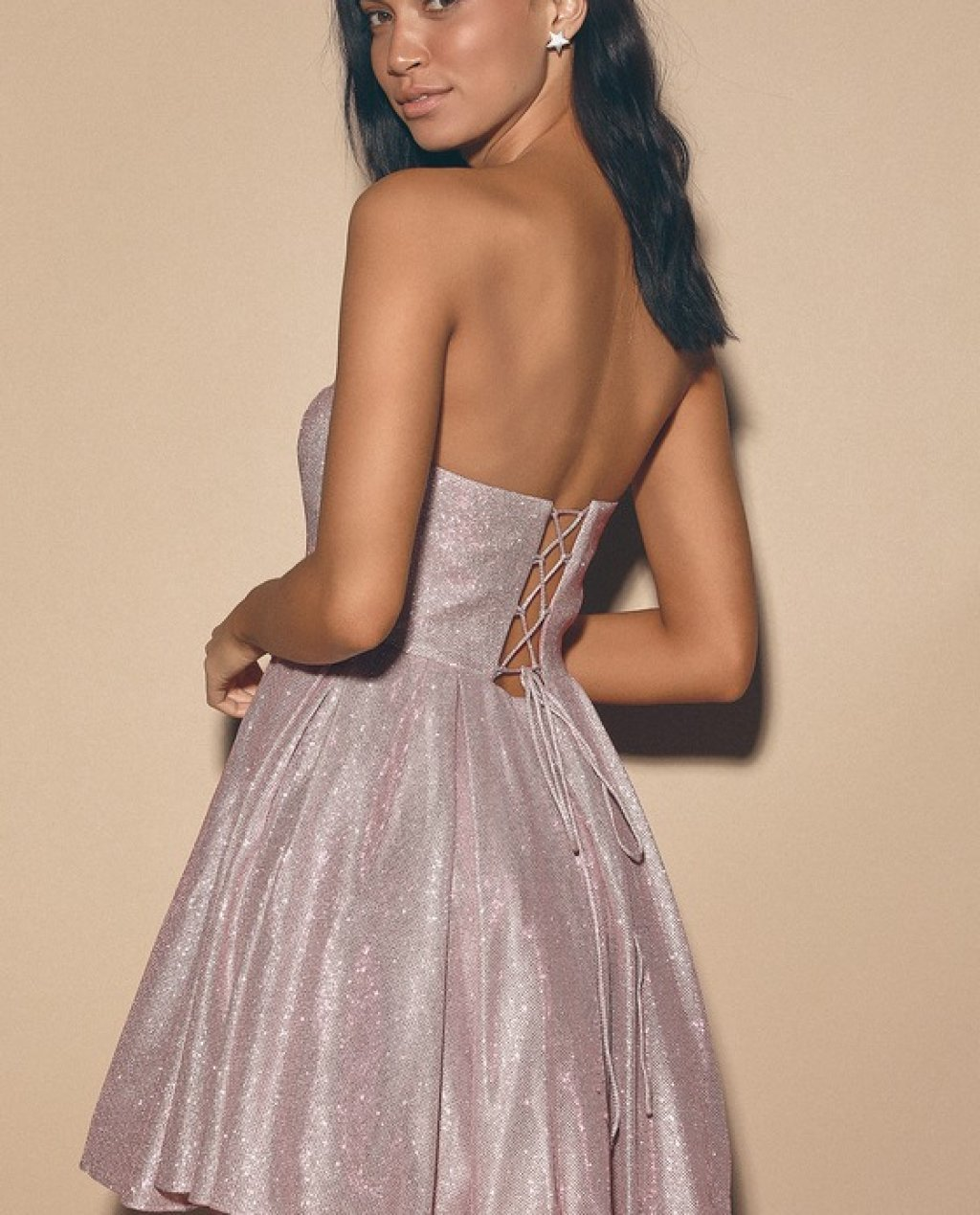 My Party Mauve Pink Sparkly Strapless Lace-Up Skater Dress