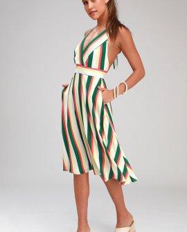 My Passions Green and White Multi Stripe Halter Midi Dress
