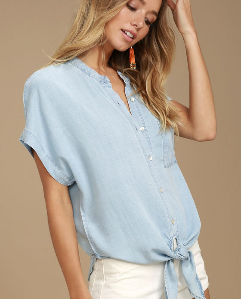 My Sweet Love Light Blue Chambray Top
