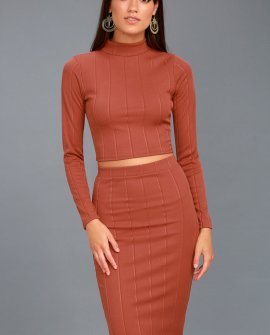My Way Rusty Rose Two-Piece Long Sleeve Dress