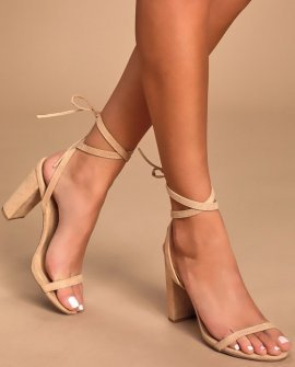 Myla Natural Suede Lace-Up Heels