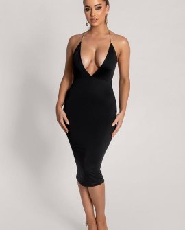 NYX Plunge Halter Chain Strap Midi Dress - Black