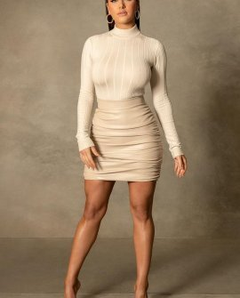 Naomi Ruched Bodycon Mini Skirt