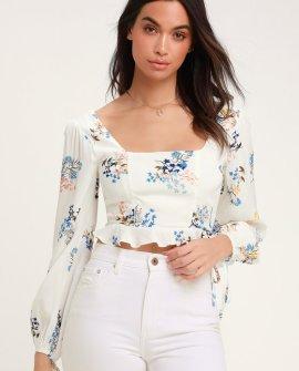 Natalia White Floral Print Long Sleeve Crop Top