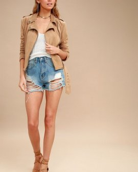 Nathan Tan Suede Lace-Up Moto Jacket