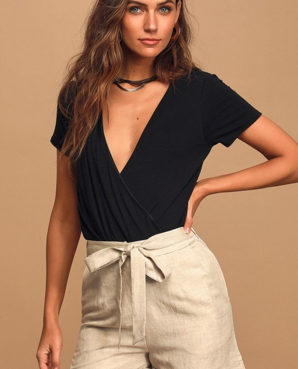 Native Fox Beige Belted High Waisted Shorts